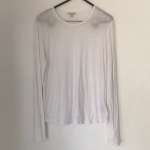 James Perse Sheer Slub Long Sleeve Crew Top